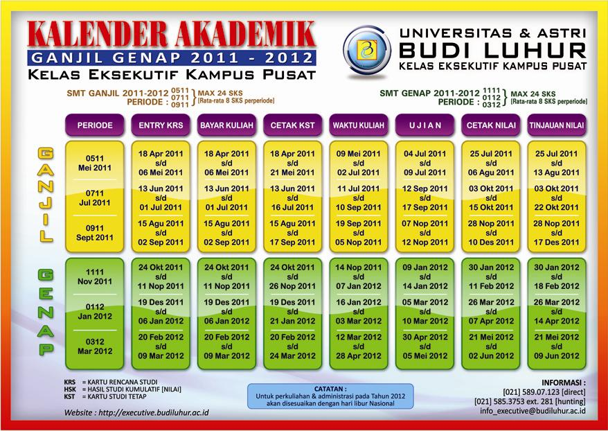 Kalender Akademik 2011-2012Executive Class Universitas Budi Luhur